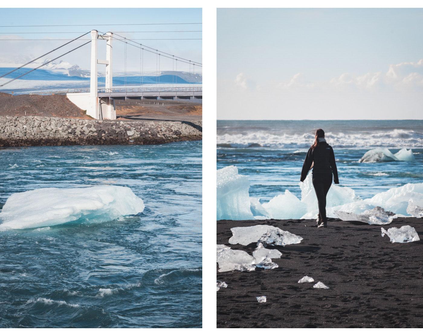 Wypożyczanie samochodu na Islandii. Most obok zatoki lodowcowej Jokulsarlon