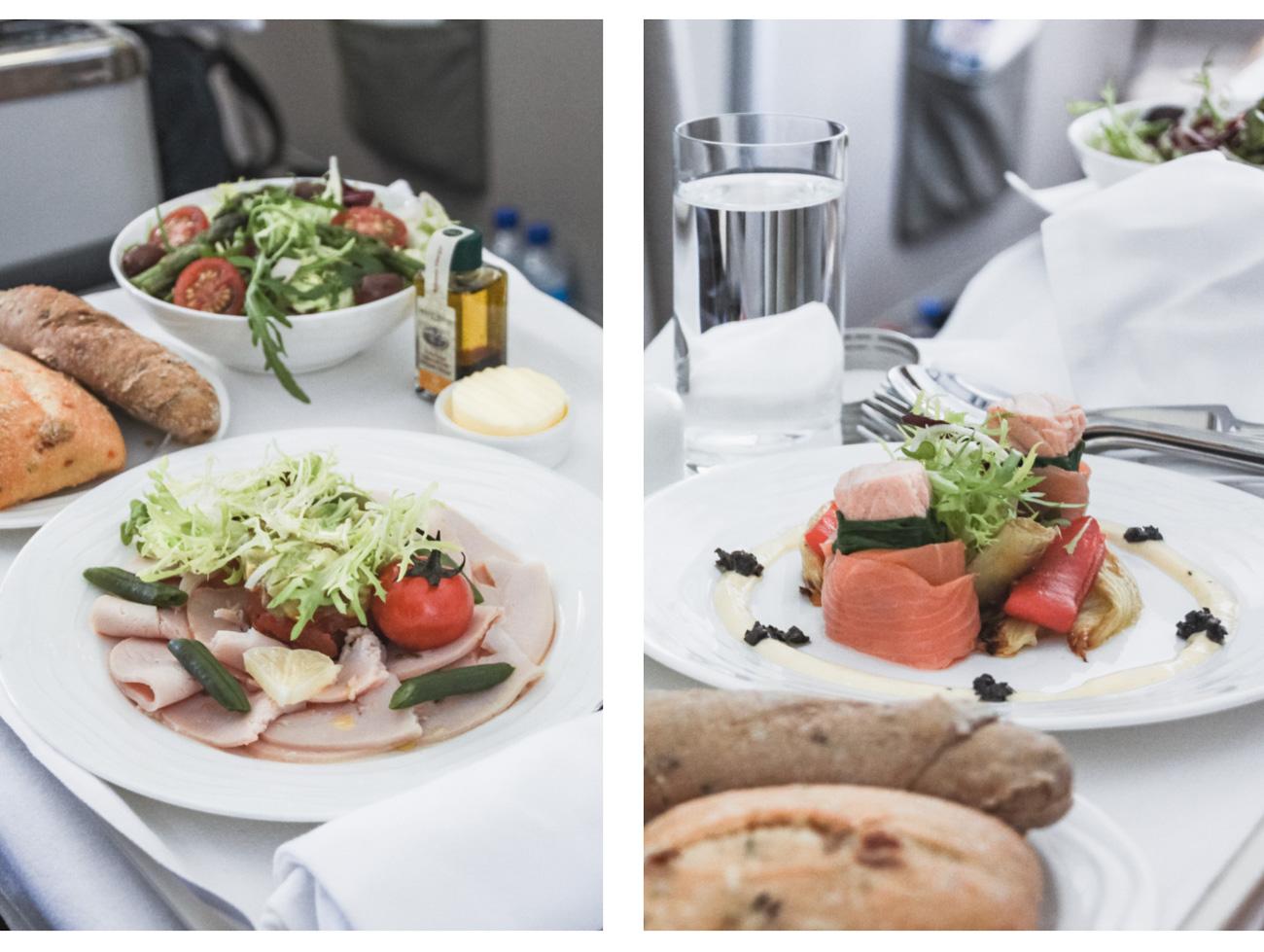 Jedzenie w samolocie, klasa business