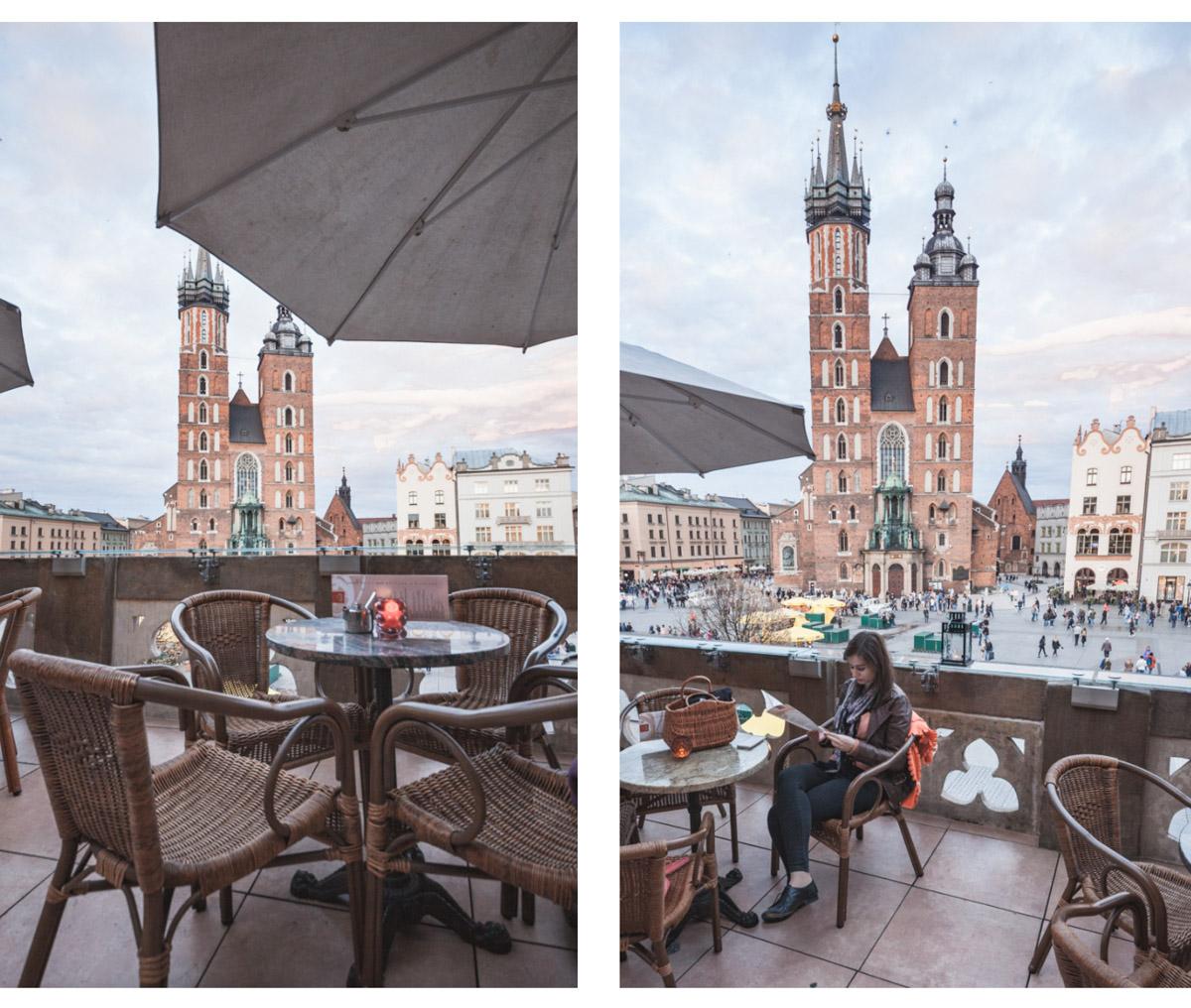 Kraków Cafe Szał widok na Kościół Mariacki