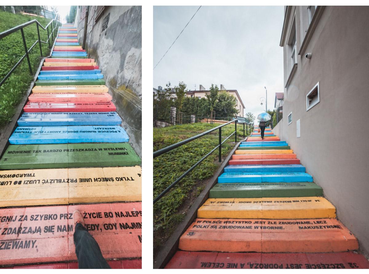 Kraków kolorowe schody podgórze