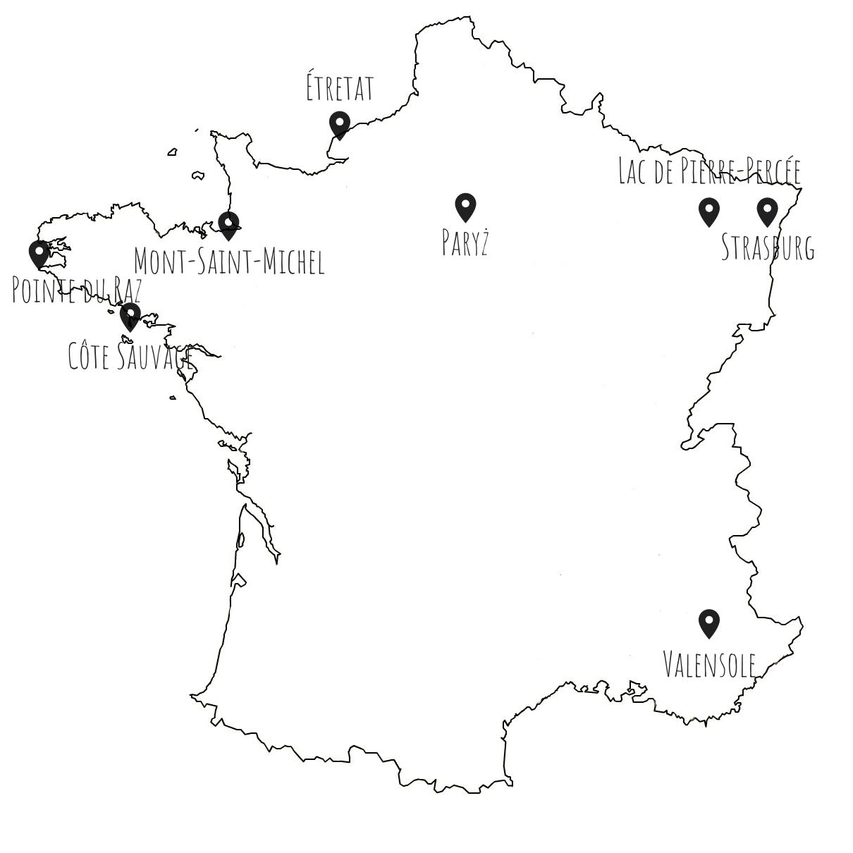Mapa atrakcji Francji